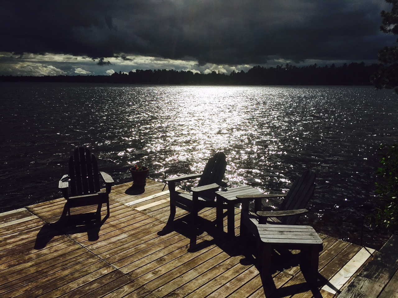 Dock with Storm Approaching by Elizabeth McLanahan
