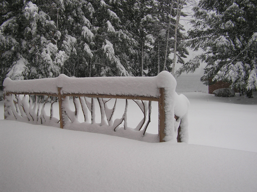 Snowy fence by Michelle Brown Garcia