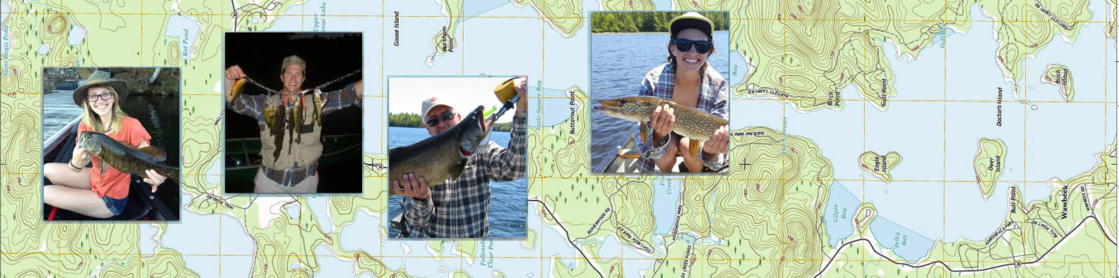 Lake map and photos of fishermen and women on Upper Saranac Lake